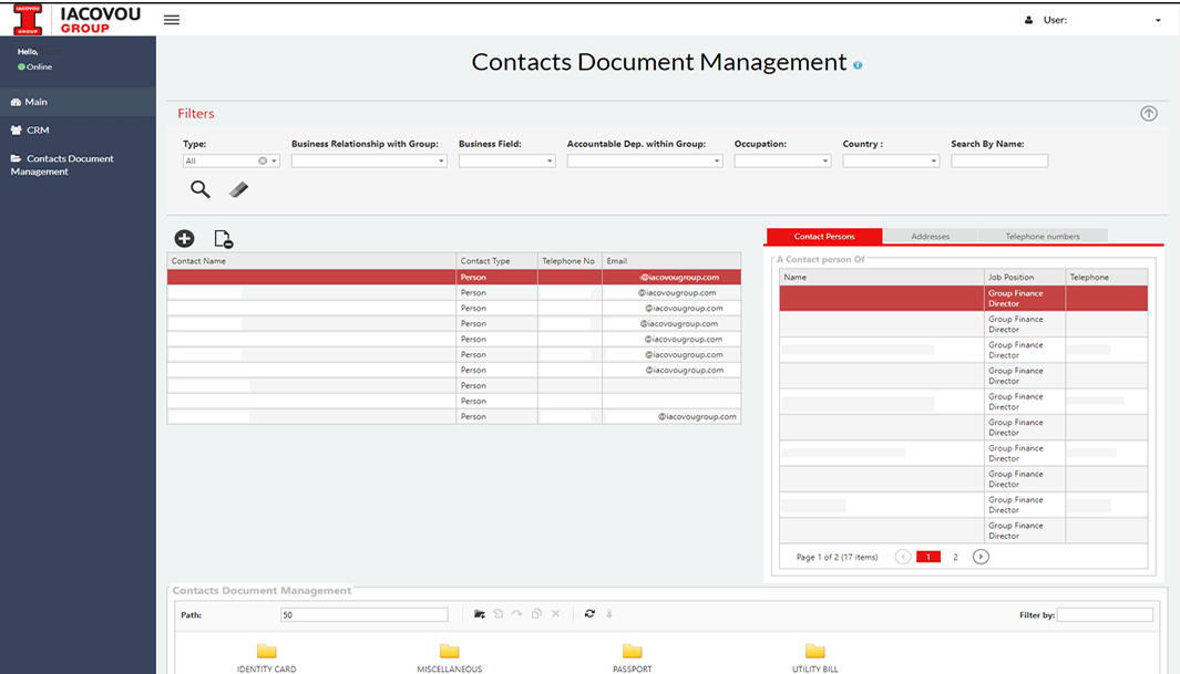 Contacts document management